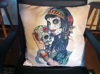 Gypsy Sugar Skull Day of the Dead Flowers Linen Square Pillow Cushion Cover.