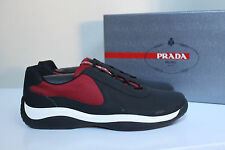 New 9.5 US / 8.5 UK Prada Black & Red Runner Punta Ala Lace up Sneaker MEN Shoes