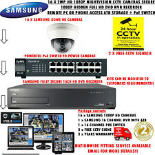 SAMSUNG 16 x 2mp HD Telecamere di Rete IP & Secure 1080p 6tb Nascosto a NVR + SWITCH POE