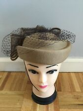 Deborah Taupe Color Church Hat With Netting