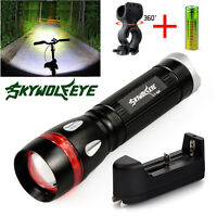 8000LM CREE T6 Zoomable Led Flashlight Light Lamp Aluminum Alloy +18650+ charger