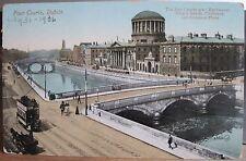 Irish Postcard FOUR COURTS River Liffey Exchequer Kings Chancery Dublin Ireland