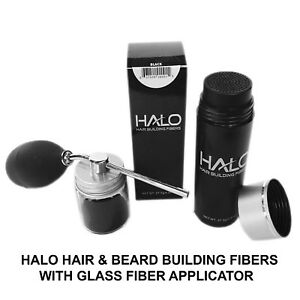 Halo Hair and Beard Building Fibers with Glass Fiber Applicator