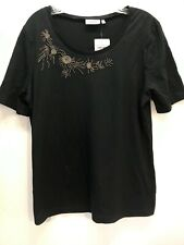 CANDA Women's Top Size MEDIUM Black Gun Metal Bugle Beads S/S Cotton Blend NWT