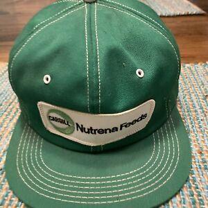 Vintage CARGILL Nutrena Feeds USA Green Denim K Product Snapback Trucker Hat Cap