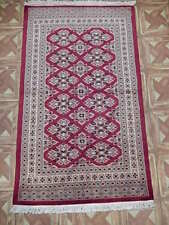 (31 x 51 in) 3' x 4' Blood Red Handmade Lust Sarouk-Inspired Rug