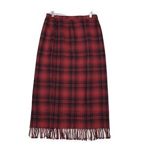 Nouveaux Vtg Red Plaid Wool Blanket Maxi Skirt Sz 14 Fringe Hem Back Zip Lined