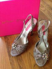 Betsey Johnson Heels Silver sparkle baroque floral brooch rhinestone crystal 8