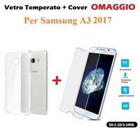 COVER CUSTODIA in TPU + PELLICOLA VETRO TEMPERATO per Samsung Galaxy A3 2017