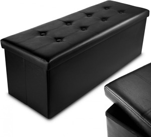 Nyxi Faux Leather 110 * 38 * 38cm Black Ottoman Foldable 110*38*38 cm King