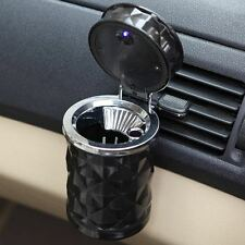 Portable Car Auto Travel Cigarette Cylinder Ashtray Holder Cup LED Light Black