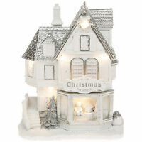 RRP £40- TOY SHOP Festive Frost LED House Christmas Decoration Glitter Gift Box