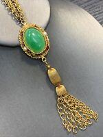 "Vintage 1950's Faux Jade  Pendant Necklace Double Rope Chain Tassel Accent 20"""