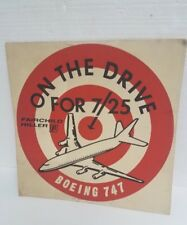 VTG 1960's Fairchild Hiller Boeing 747 Jet Airplane on the drive for 7/25 poster