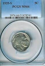 1935-S Buffalo Nickel : PCGS MS66 Blazing White
