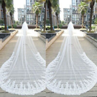 Cathedral Length Lace Sequins Bride Wedding Veils Long Trains Bridal Accessories