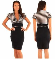 Stripes Dresses for Women with Belt Bodycon Dress