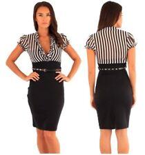 Polyester Striped Regular Size Dresses for Women
