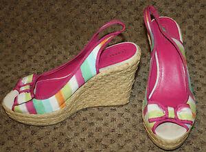 COACH Pink Blue Rainbow Stripe Wedge Heels Shoes LN 10M Grace Slingbacks