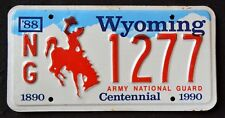"WYOMING "" ARMY NATIONAL GUARD "" CENTENNIAL "" WY Military Specialty License Plate"