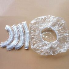100 x Disposable One-off Hotel Shower Bathing Clear Hair Elastic Caps Hats  HC