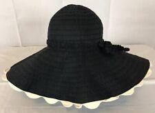 Women's Mud Pie Bag Lady Black And Cream Floppy Brim Sun Hat •ONE SIZE Layered