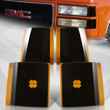For 1994-1998 GMC C/K 1500 2500 3500 Black Housing Amber Lens Corner Lights 4Pcs