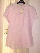 Pink pin stripe office type shirt blouse with pink marble pendant Size 8.