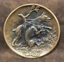 1910s German Bronze Metal Doberman Pinscher 2 Dog Brace Card Receiver Tray