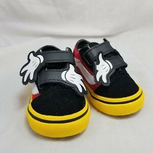 Vans x Disney Old Skool V Mickey Mouse Hug Black Red Yellow Toddler Size 2