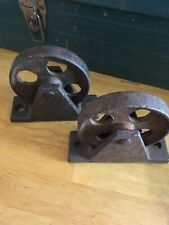 Rare Vintage Cast Iron Wheels 5 in  Industrial Factory Cart Table Steampunk Pair