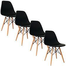 Set 4 Sedie Nero Sedie Retro Sedie in polipropilene E gambe in legno di faggio