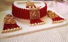South Indian Choker Gold Plated Bollywood Fashion Traditional Bridal Tika Women