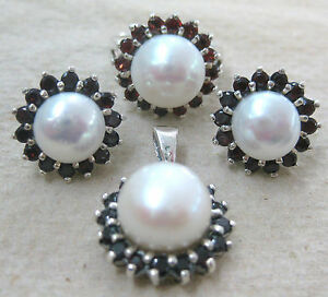 925 STERLING SILVER real GARNET & PEARL Halo design Earrings Pendant Ring SET