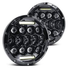 For 66-78 Ford Bronco 7'' Round LED Headlights Hi/Lo Beam Turn Signal DRL Lamp