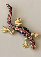 Unique Lizard Brooch Pin enamel on Gold Tone Metal