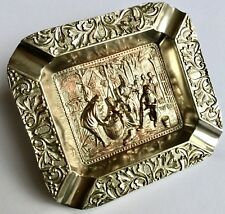 Antique Ornate Victorian 1890s Dutch Street Scene Repoussé Silver Plated Ashtray