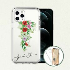 Phone Christmas Gift Flower Bouquet Personalised Name Clear Front Back Case