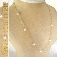 $600NEW VICTORIAN 18K YELLOW GOLD WHITE PEARL ESTATE VTG ART DECO CHAIN 10MM 14K