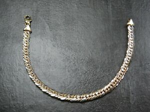 VINTAGE 9ct White & Yellow GOLD TIGHT CURB LINK BRACELET C.1990
