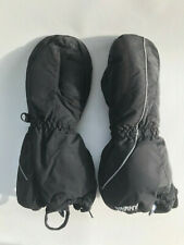 Swany Youth Black Ski Mittens, size 5-6, TOTS Large, Snow Gloves, FLEECE ZIP EUC
