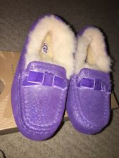BNIB Ugg Slippers Annmarie Purple Glitter Kids Girls Sz 11 / 12 NEW