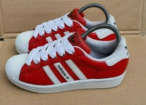 GORGEOUS ADIDAS SUPERSTAR RED & WHITE SHELL TOE TRAINERS SIZE 4 UK RARE
