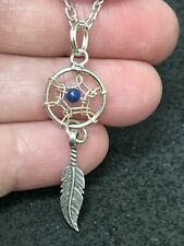 Native American Dreamcatcher Blue Lapis Vintage Pendant Silver D-2684L *2*