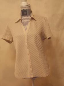 Marks&Spencer Top size 18  Shirt  Blouse  Short sleeve Collared Light Beige