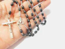 Black Oval Plastic Beaded Crucifix Rosary Vintage
