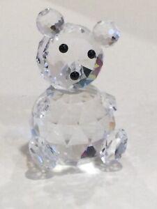 Swarovski Crystal Cut Glass Figurine of Teddy Bear Sitting, marked