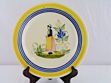 "HENRIOT QUIMPER FRENCH FAIENCE BRETON WOMAN RED DRESS 9"" LUNCHEON PLATE EUC"