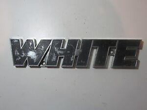 Vintage White Freightliner Semi Truck Emblem Badge Script Trim Metal Chrome Pick