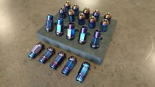 Full Titanium (Blue) Tuner Wheel Lug Nut Conical Seat Open End 12x1.5 12mmx1.5mm